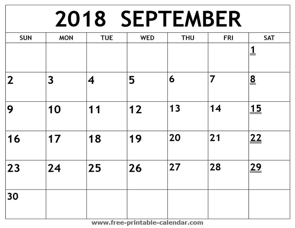 Printable Calendar for September Printable 2018 September Calendar