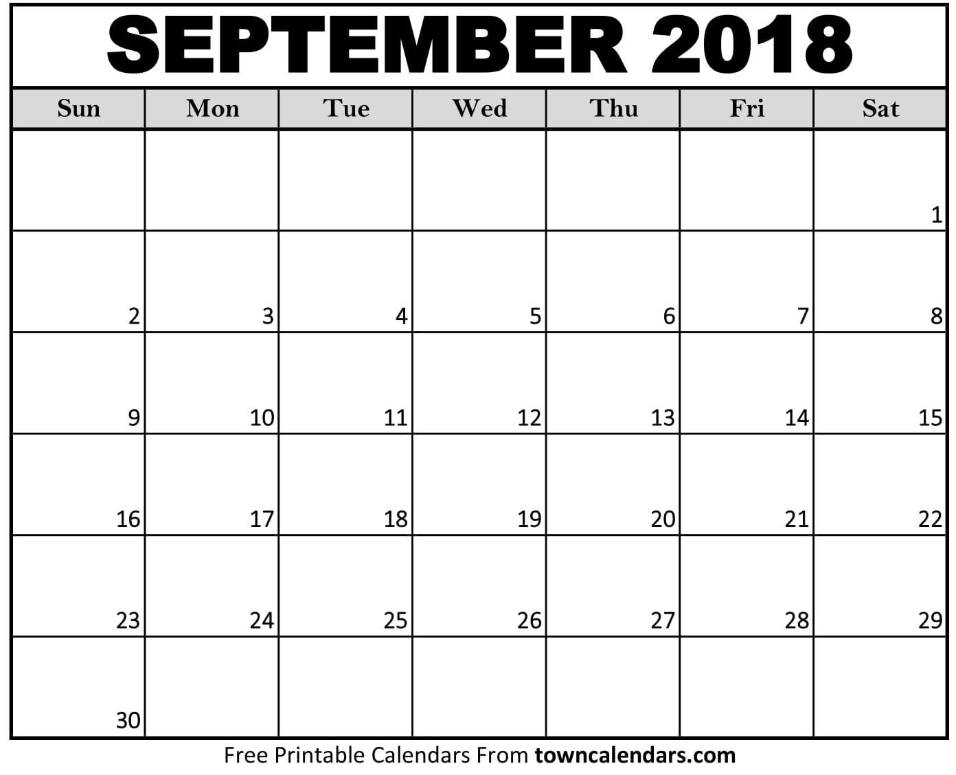 Printable September 2018 Calendar towncalendars