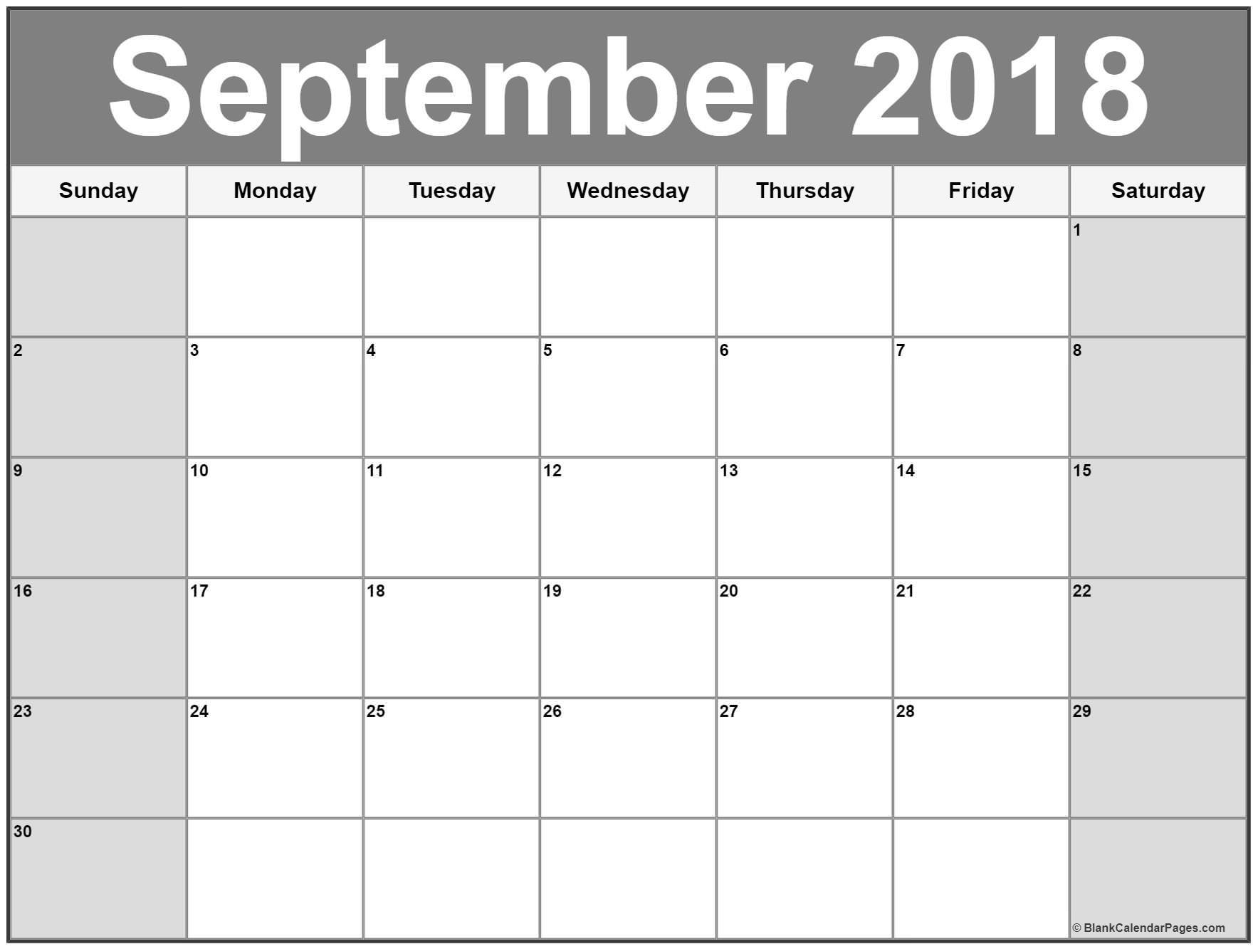 Printable Calendar for September September 2018 Calendar
