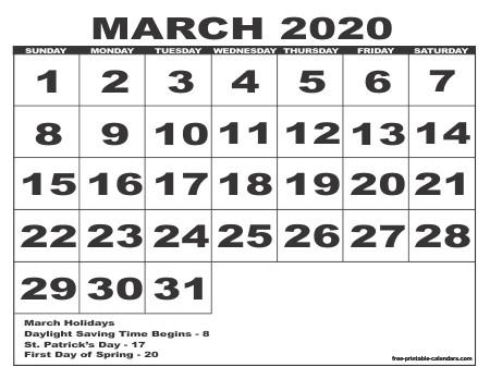 Printable Calendar March 2020 2020 Free Printable Calendars Free Printable Calendars