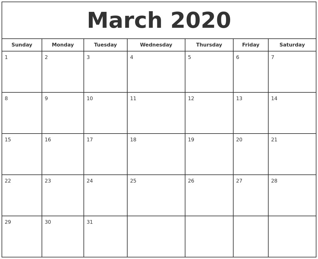 March 2020 Print Free Calendar