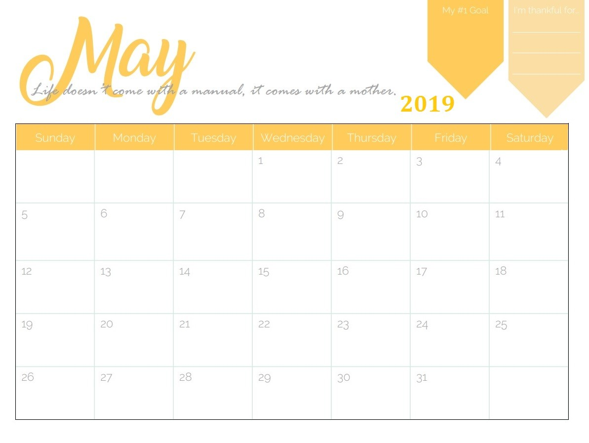 Printable Calendar May 2019 Free Printable 2019 Monthly Calendar