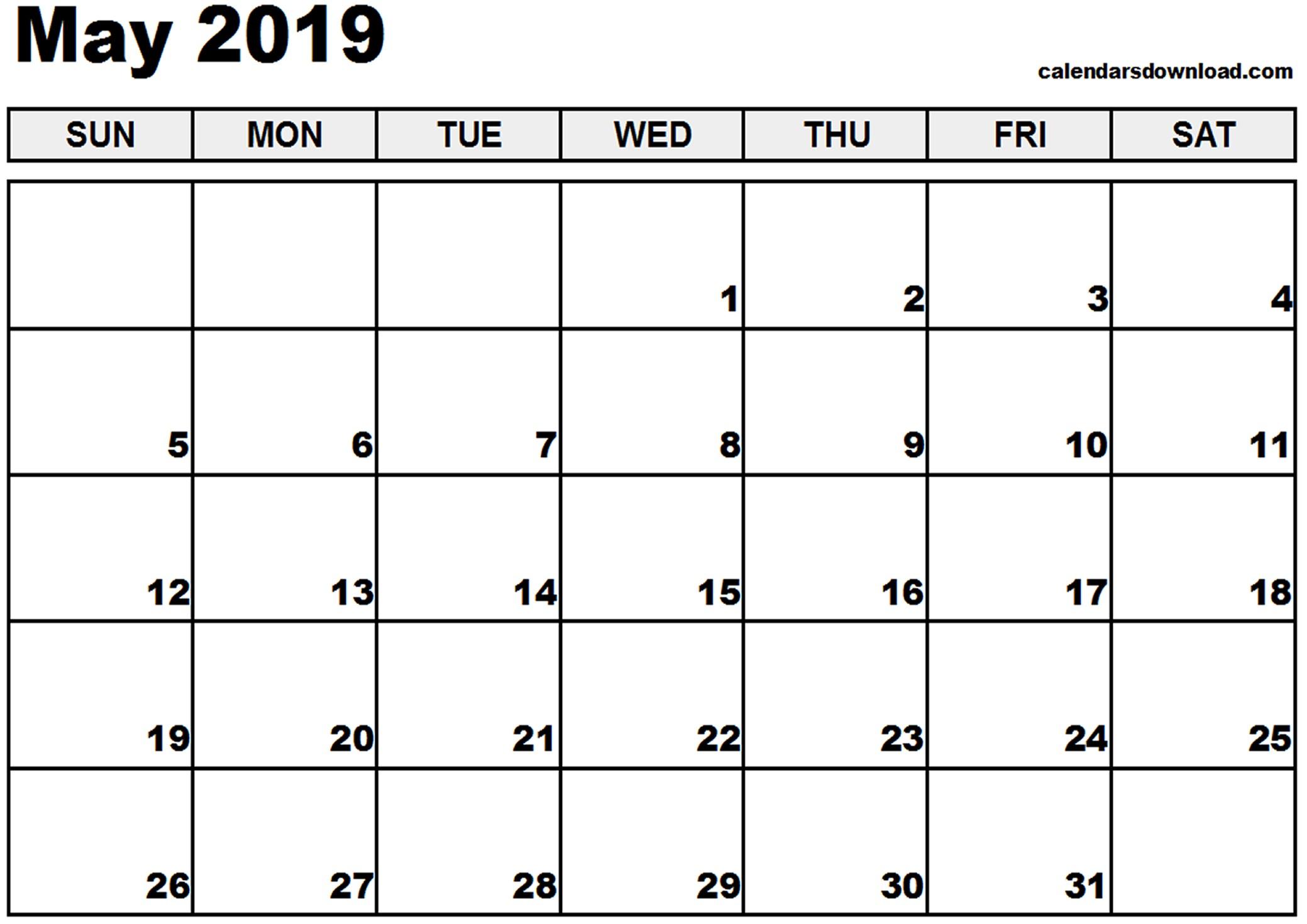 Printable Calendar May 2019 May 2019 Calendar