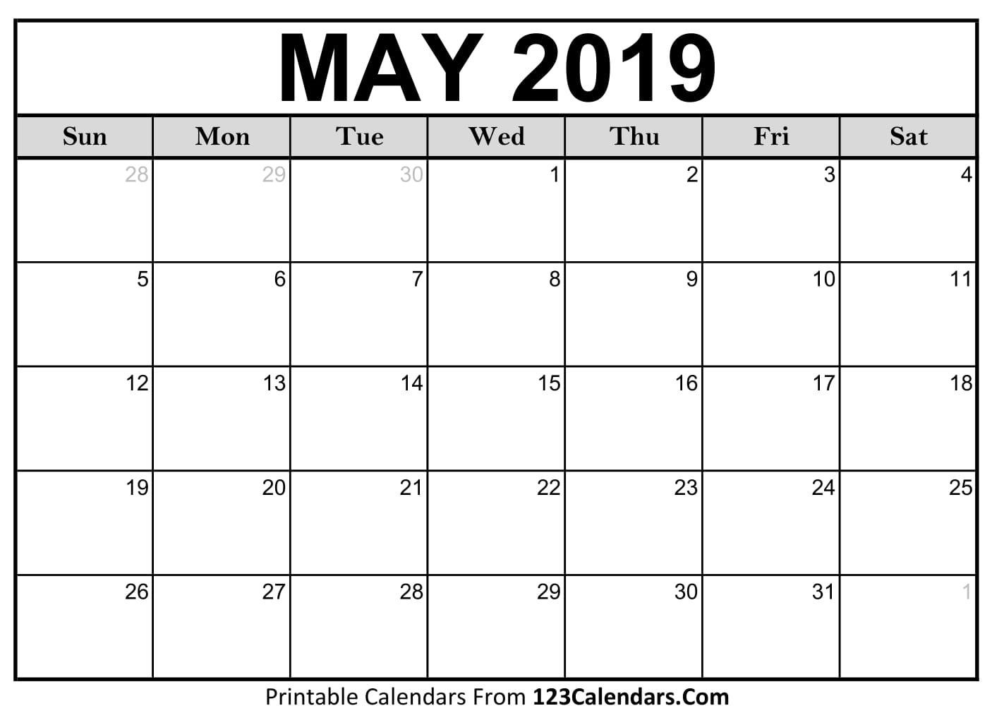 Printable May 2019 Calendar Templates 123Calendars