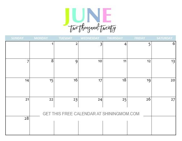 Free Printable 2020 Calendar So Beautiful & Colorful