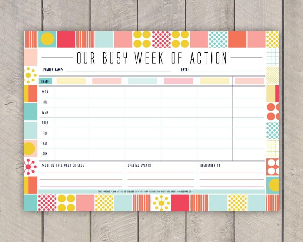 Printable Calendar organizer Diy Family Weekly Planner Printable Mid Century organiser In
