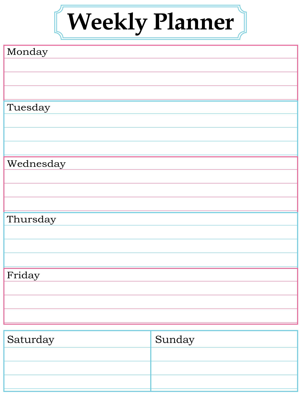 Weekly planner printable Nice simple clean lines