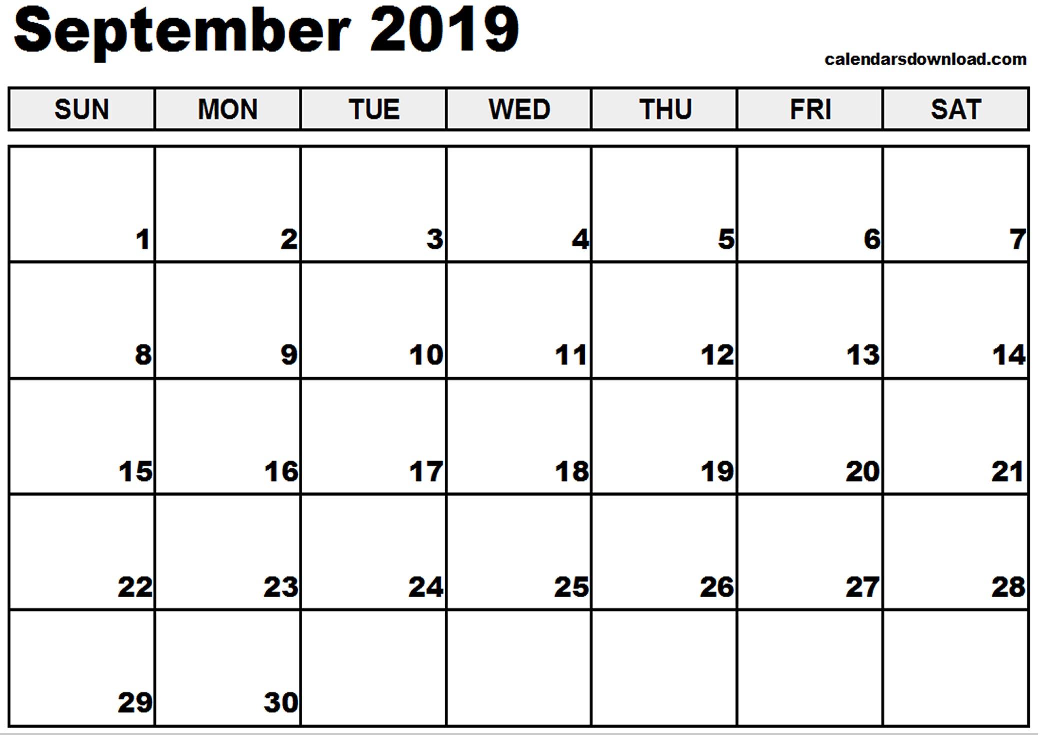 Printable Calendar September 2019 September 2019 Calendar