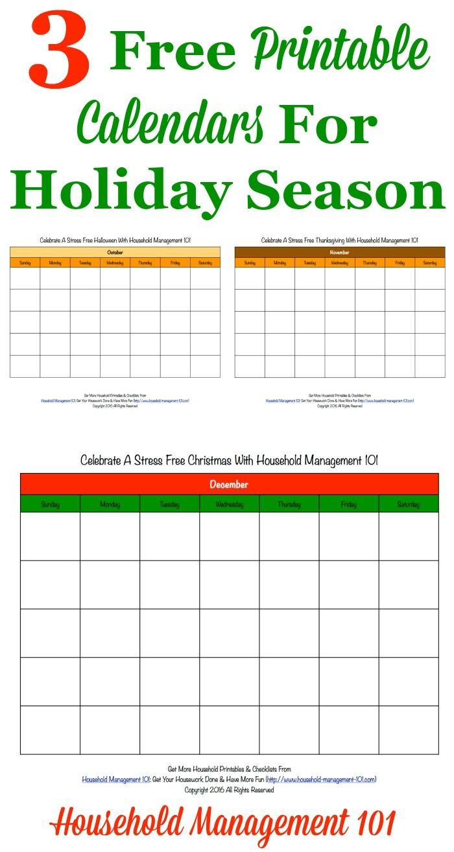 Printable Calendars with Holidays Free Printable Holiday Calendars 3 Months Calendars