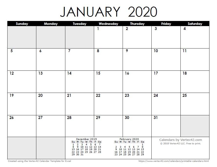 Printable January Calendar 2020 2020 Calendar Templates and