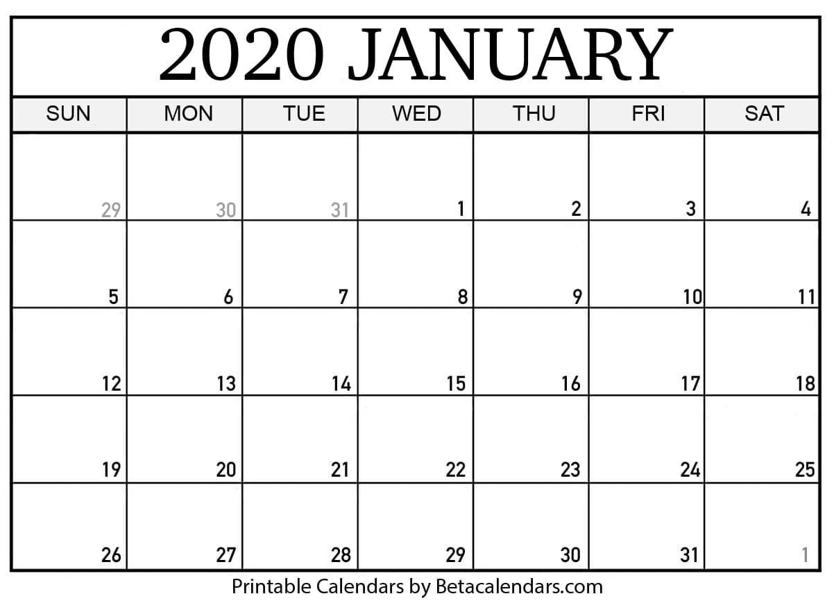 Blank January 2020 Calendar Printable Beta Calendars