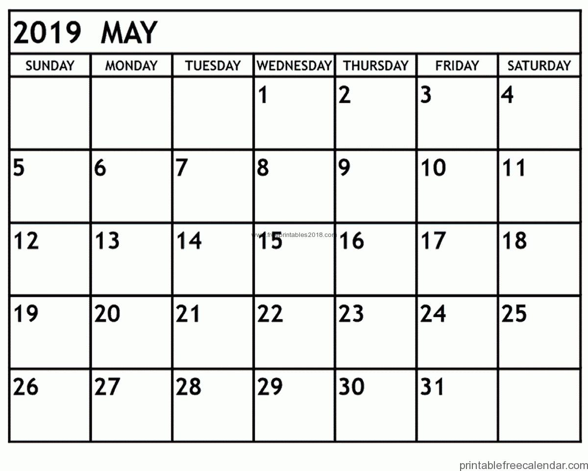 Printable January Calendar 2020 Free Printable May 2019 Calendar Templates