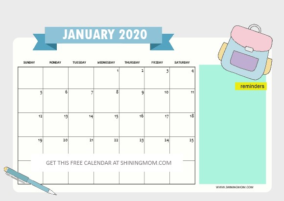 Printable January Calendar 2020 Free School Calendar 2019 to 2020 with Weekly Student Planner