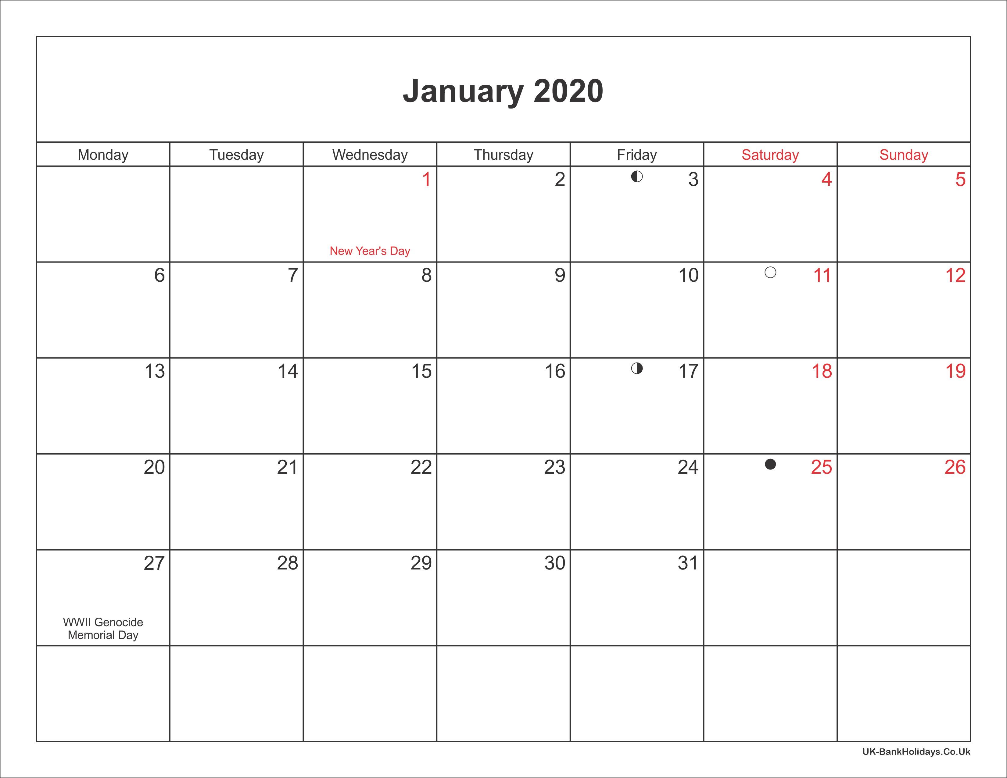 January 2020 Calendar Printable with Bank Holidays UK