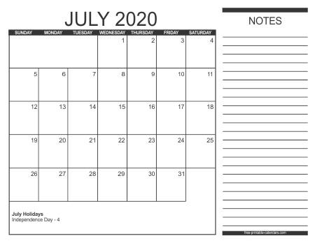 Printable July 2020 Calendar 2020 Calendar Style 2 Free Printable Calendars