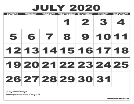 Printable July 2020 Calendar 2020 Calendar Style 6 Free Printable Calendars