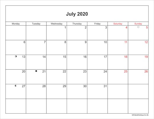 Printable July 2020 Calendar July 2020 Calendar Printable with Bank Holidays Uk