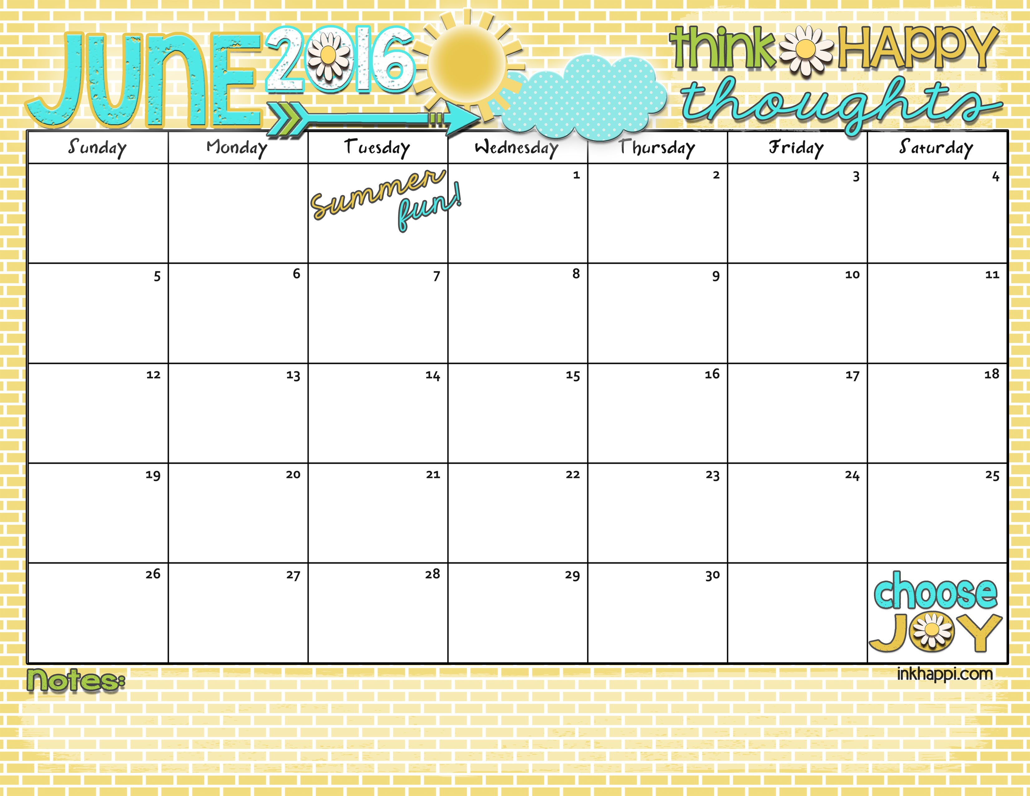 Printable June Calendar June 2016 Calendar Let S Have some Summer Fun Inkhappi