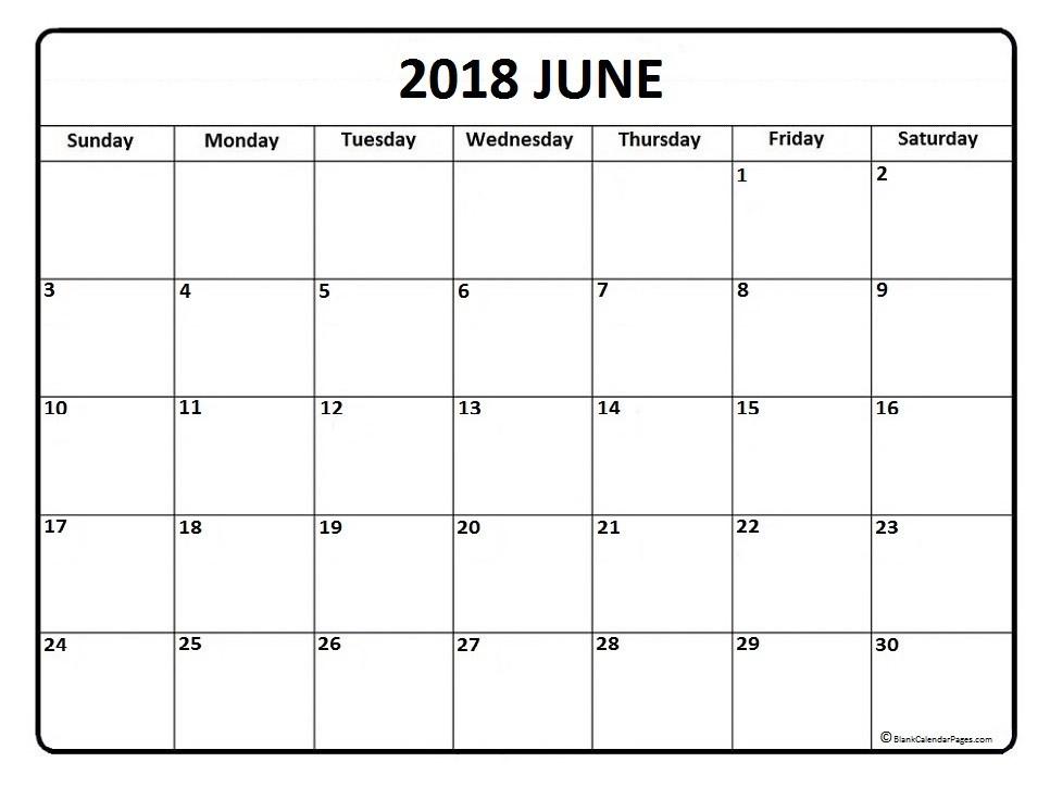 Printable June Calendar June 2018 Calendar