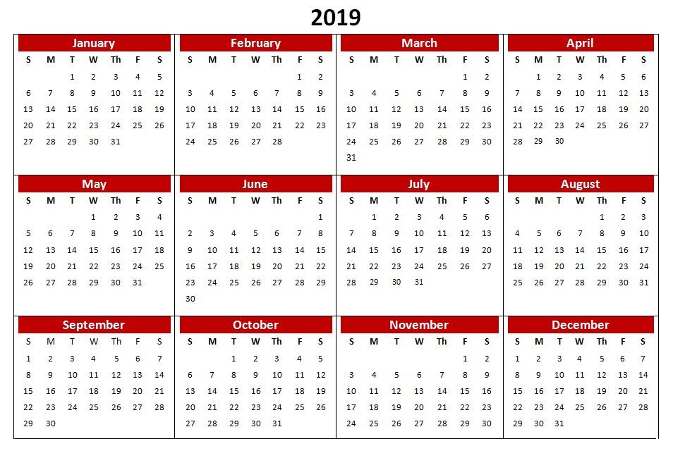 Printable Monthly Calendar 2019 Pdf 2019 Pdf Calendar Monthly Printable