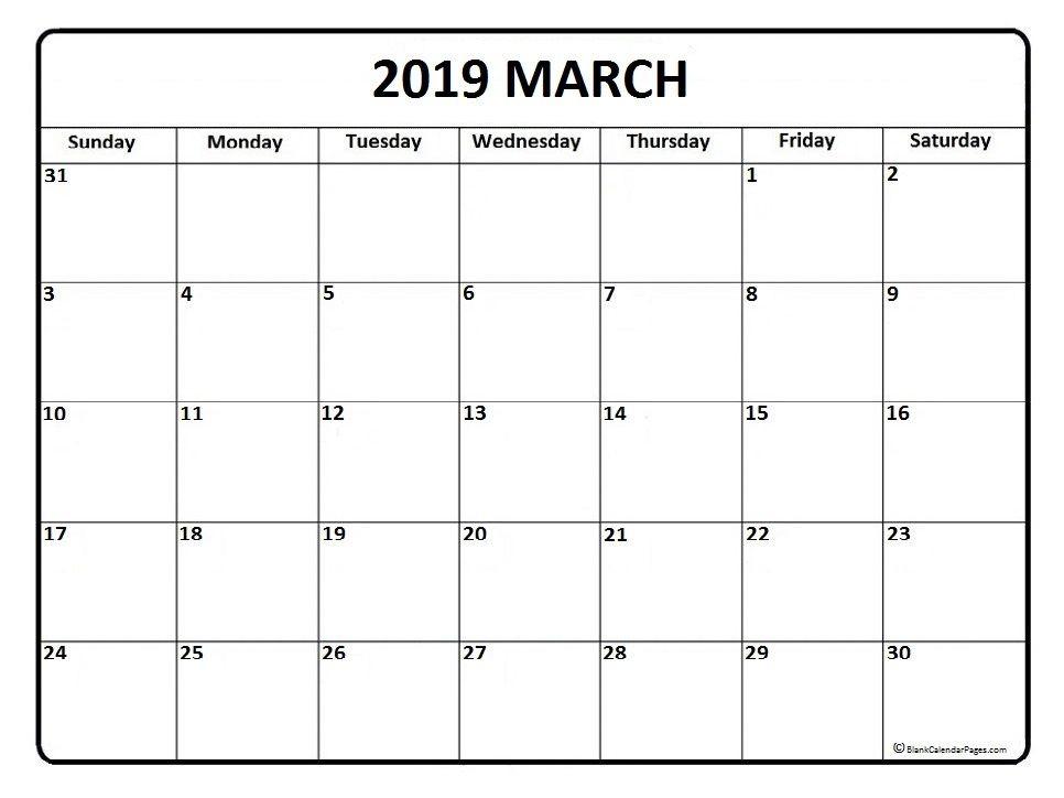 March 2019 Calendar PDF – month printable calendar