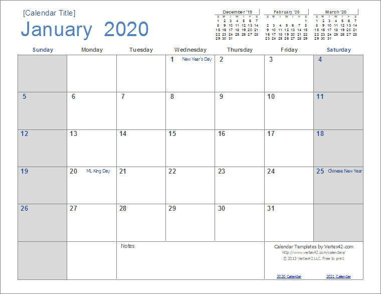 Printable Monthly Calendar 2020 with Holidays 2020 Calendar Templates and