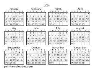 Printable Monthly Calendar 2020 with Holidays Download 2020 Printable Calendars
