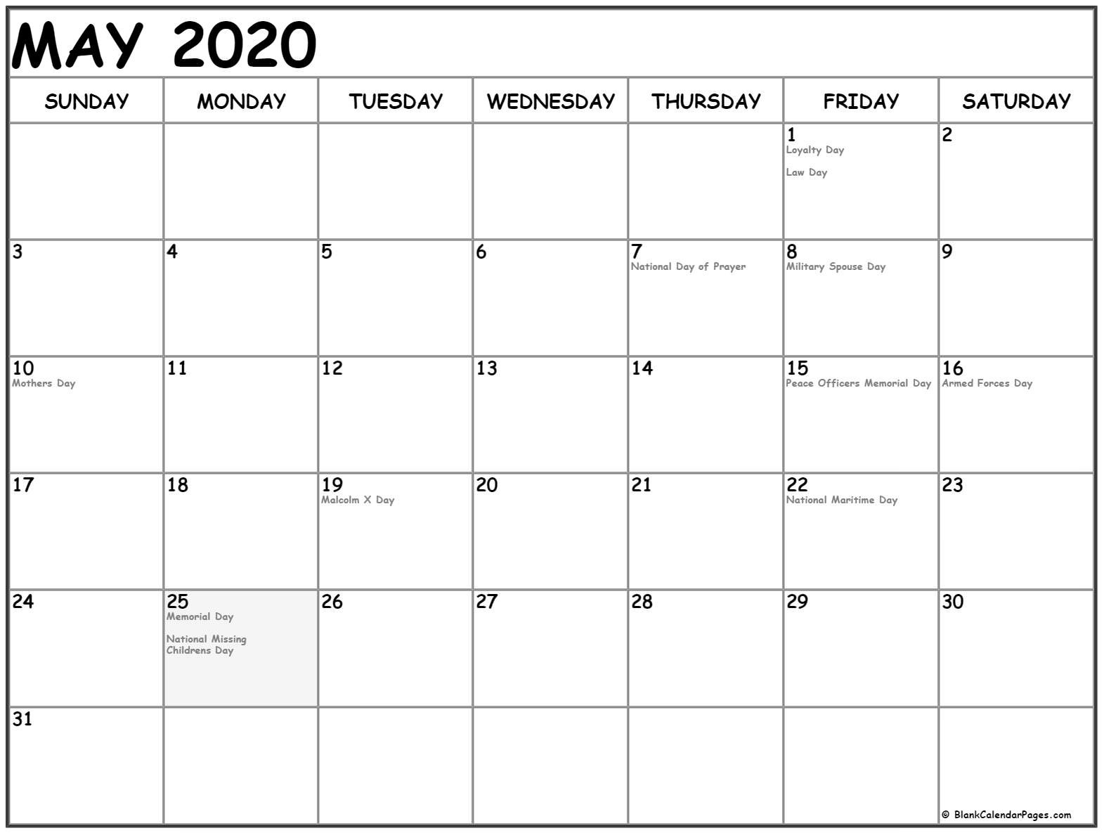 Printable Monthly Calendar 2020 with Holidays May 2020 Calendar