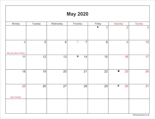 Printable Monthly Calendar 2020 with Holidays May 2020 Calendar Printable with Bank Holidays Uk