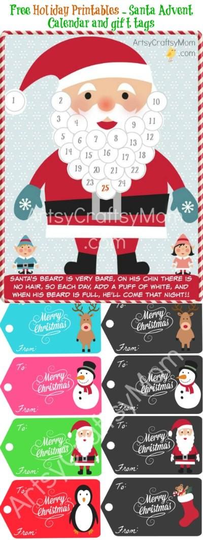 Free Holiday Printable Santa Advent Calendar and t