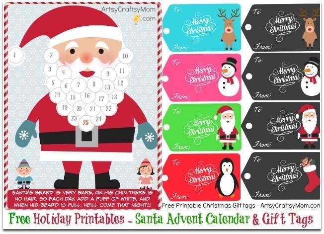 Printable Santa Advent Calendar Free Holiday Printable Santa Advent Calendar and T