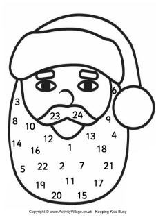 Printable Santa Advent Calendar Santa Advent Calendar