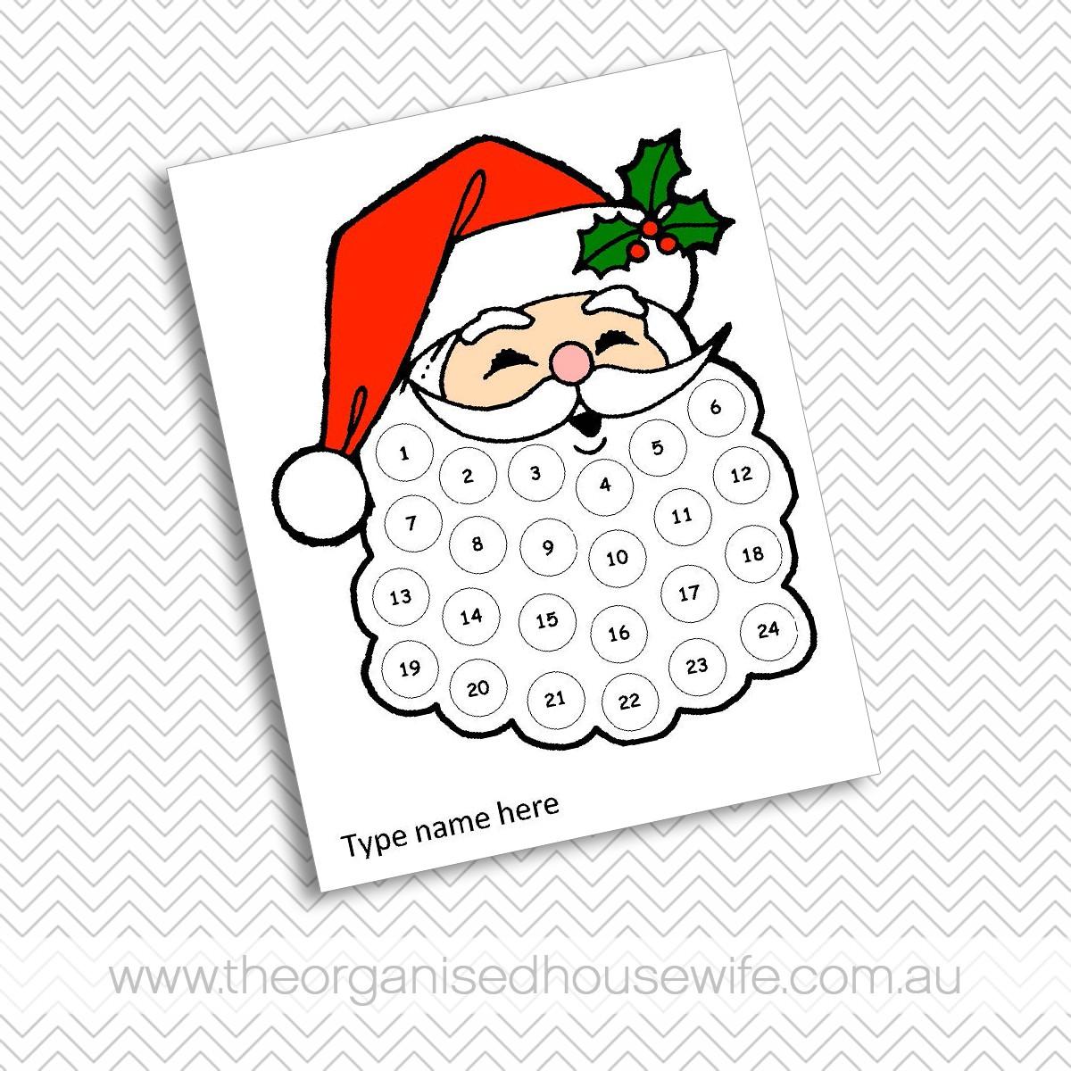 Printable Santa Advent Calendar Santa S Beard Advent Calendar