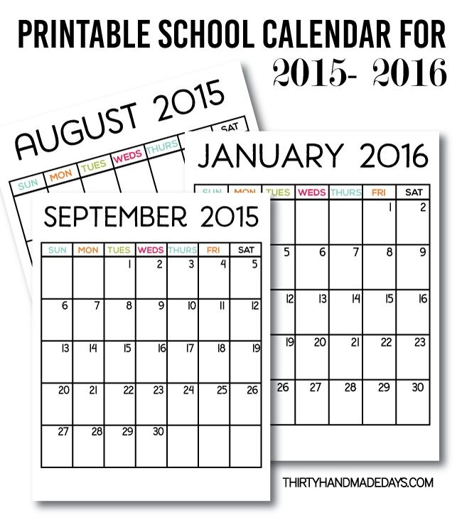 Printable School Calendars
