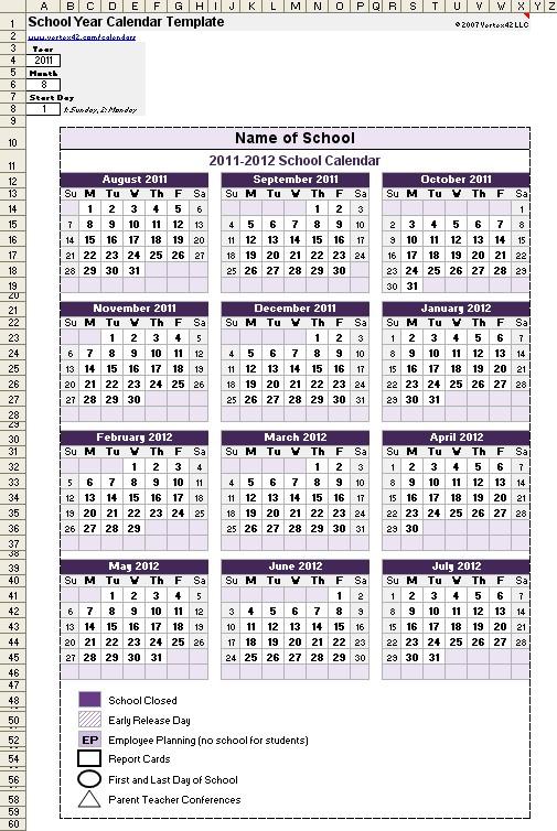 School Calendar Template 2019 2020 School Year Calendar