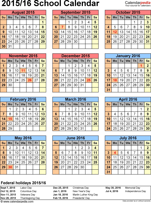 Printable School Calendars School Calendars 2015 2016 as Free Printable Pdf Templates