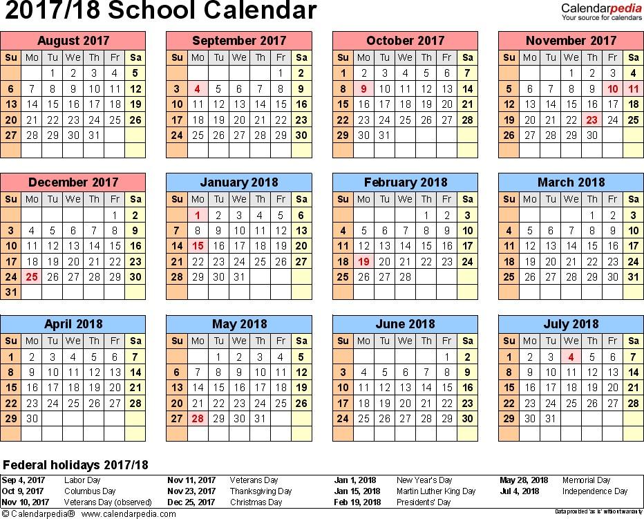 Printable School Calendars School Calendars 2017 2018 as Free Printable Word Templates