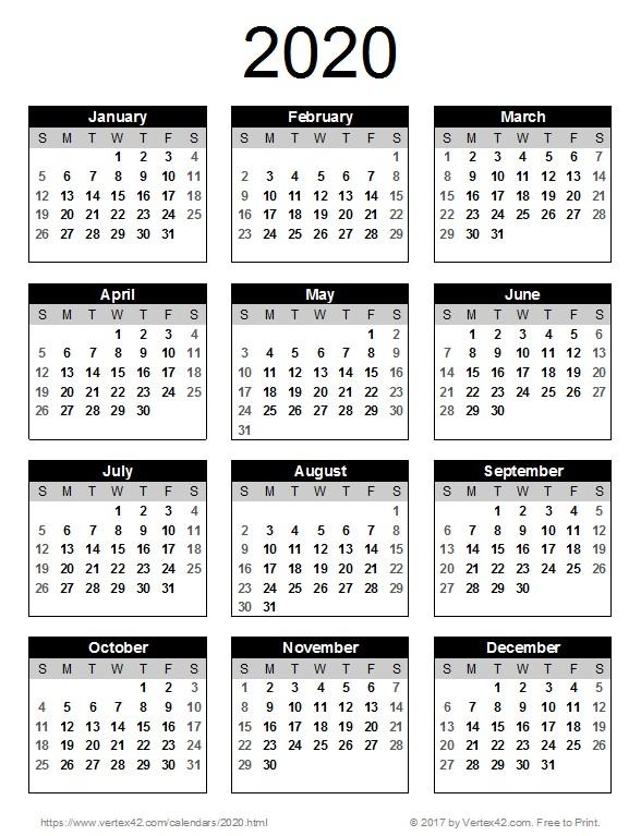 Printable Year Calendar 2020 2020 Calendar Templates and