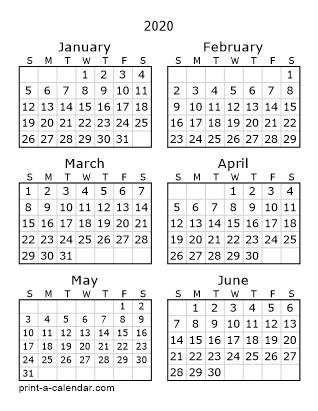 Printable Year Calendar 2020 Download 2020 Printable Calendars