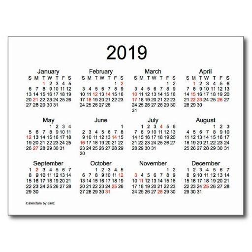 Small Printable 2019 Calendar 2019 Mini Calendar with Holidays Holiday Postcard