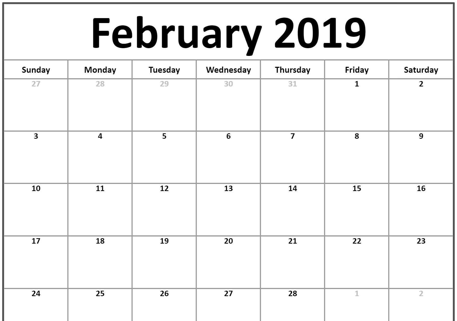 Small 2019 February Printable calendar landscape
