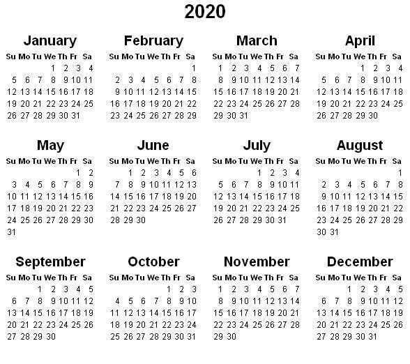 Small Printable Calendar 2020 the Cake Guys