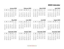 Small Printable Calendar 2020 Yearly Calendar 2020