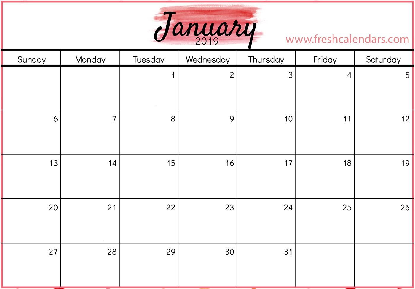 Template for Calendar 2019 January 2019 Calendar Printable Fresh Calendars