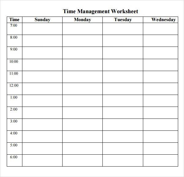 Printable Time Management Schedule Calendar Template