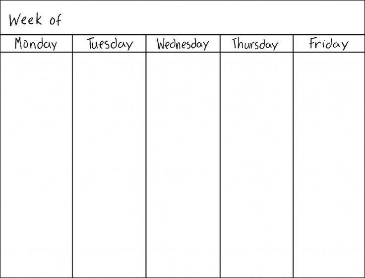 Weekday Calendar Template Best 25 Weekly Calendar Template Ideas On Pinterest