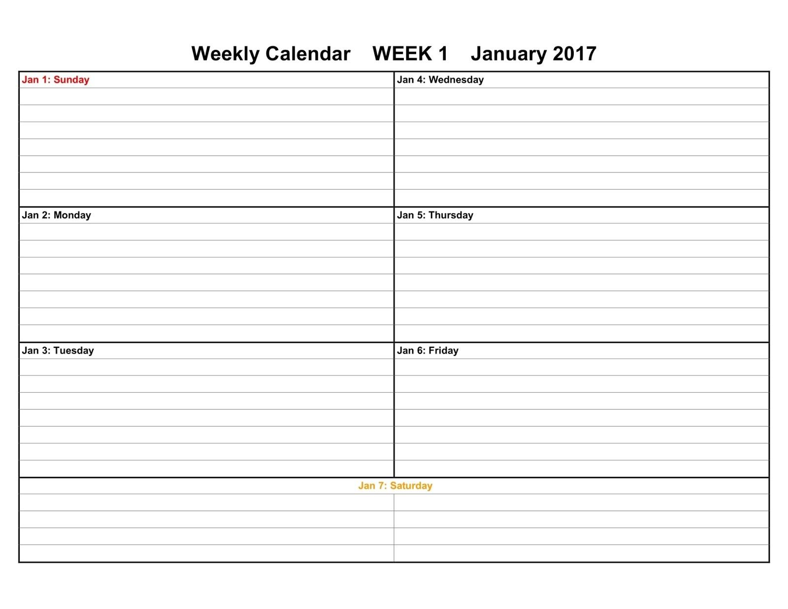 Weekly Calendars Printable Printable Calendars 2017 & 2018 Editable Printable Calendars