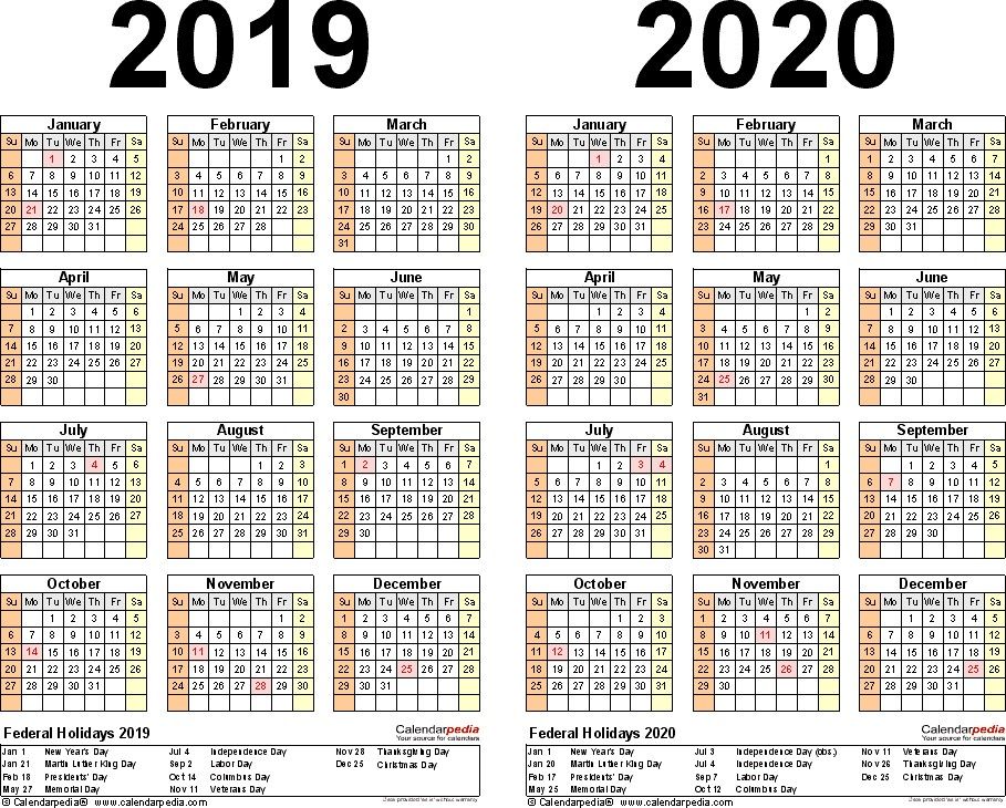 2 Year Calendar 2020 and 2020 Printable 2019 2020 Calendar Free Printable Two Year Word Calendars