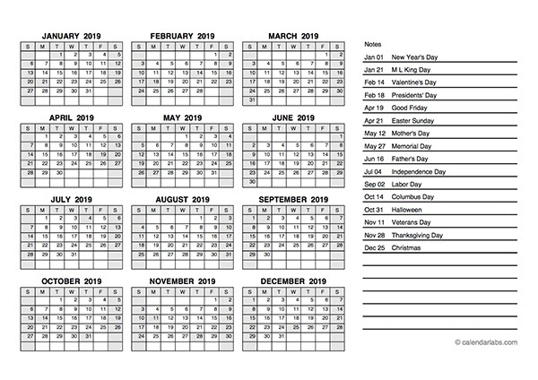 2019 and 2019 School Year Calendar Printable 2019 Yearly Calendar Pdf Free Printable Templates