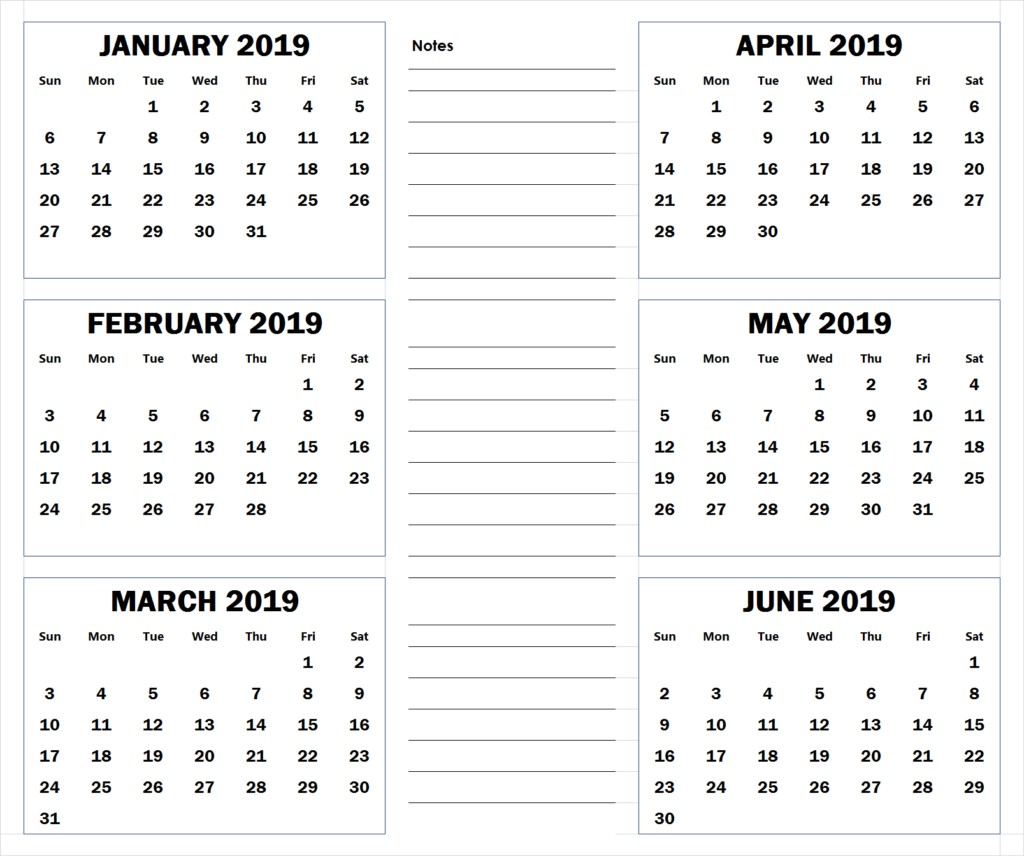 2019 Calendar by Month Printable 2019 6 Months Half Year Calendar Printable Download